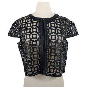 ATOS LOMBARDINI Women's Leather & Tulle Blazer